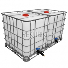 2x 1000l IBC Wassertank inkl. 32mm PP-Rohr Tankverbindung, Rebottled IBC NEUE BLASE