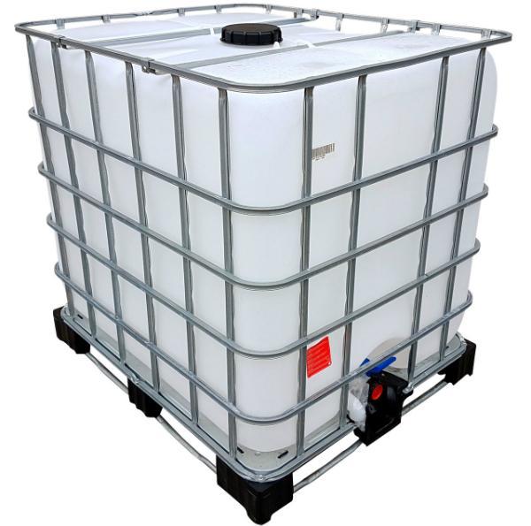 Gebrauchter IBC Wassertank auf Kunststoffpalette rebottled neue Blase 1000 Liter