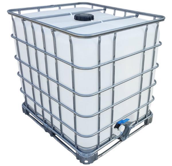 Gespuelter IBC Wassertank auf Stahlpalette Volumen 1000 Liter