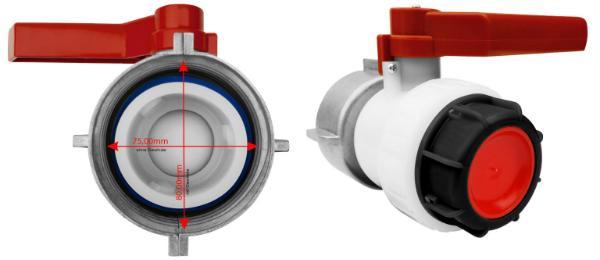 IBC Kugelhahn S80x6 80mm x S60x6 Grobgewinde DN50
