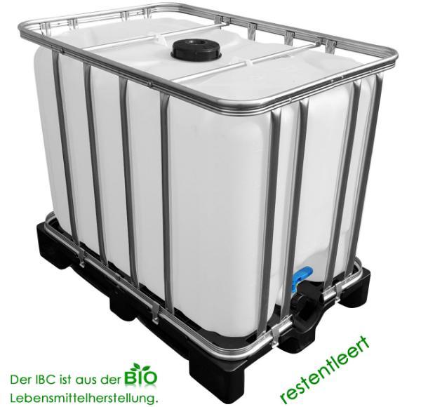 IBC Tank auf Kunststoffpalette aus Lebensmittelherstellung Volumen 600 Liter