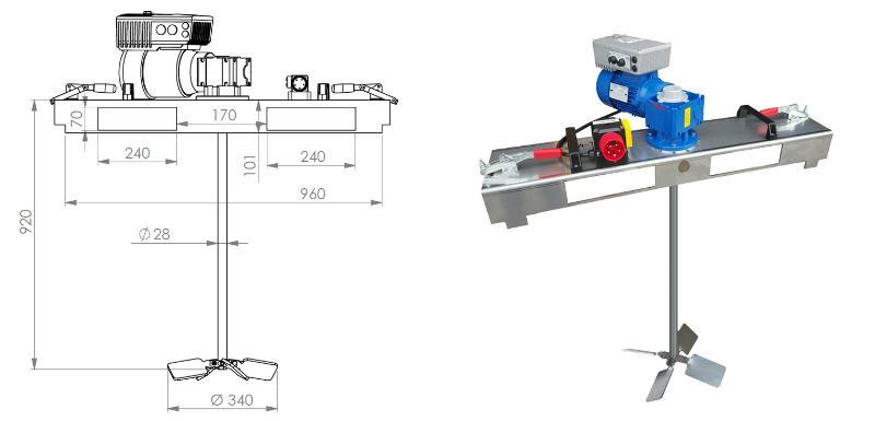 IBC Schneckengetriebe Ruehrwerk mit E-Antrieb 2000 m Pas