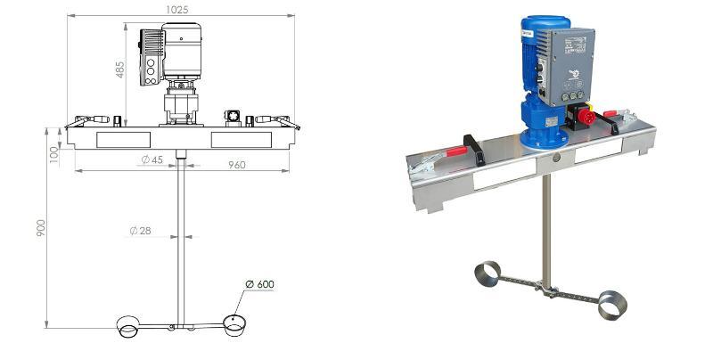 IBC Stirnradgetriebe Ruehrwerk mit E-Antrieb 10000 mPas