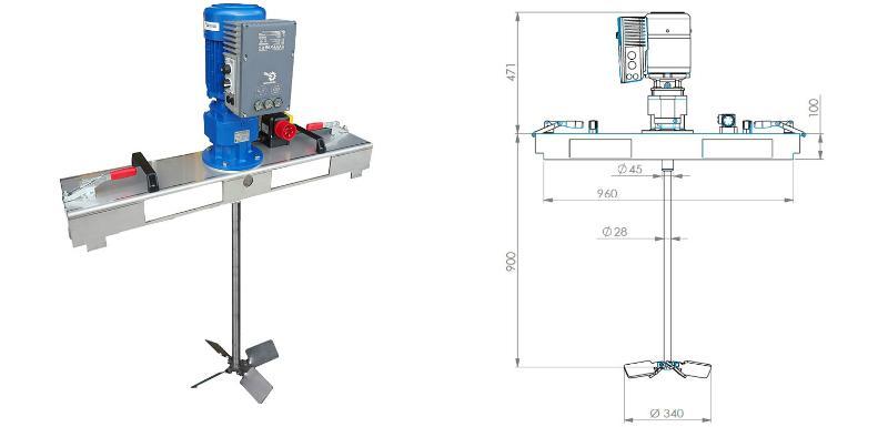 IBC Stirnradgetriebe Ruehrwerk mit E-Antrieb 5000 m Pas