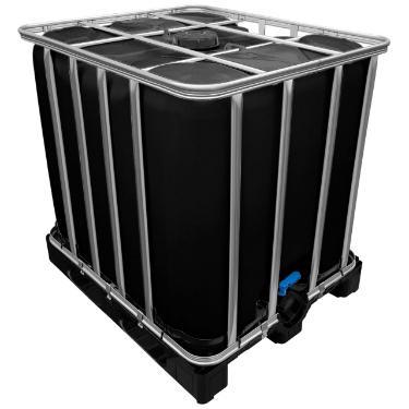 1000l IBC Container in SCHWARZ auf Kunststoffpalette NEU