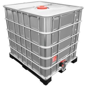 1000l IBC Wassertank mit Stahlmantel auf Kunststoffpalette GESPÜLT