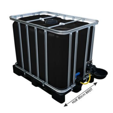 600l IBC Wassertank in SCHWARZ mit Tränkebecken auf Kunststoffpalette