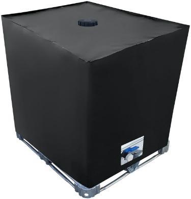 IBC Cover UV-Schutz Folie mit Lochauschnitt in Schwarz