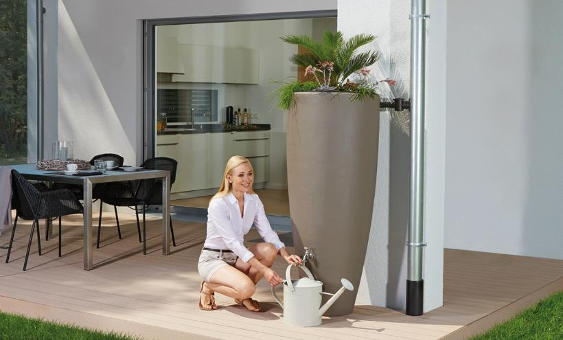 300l Design-Regentonne 2in1 Wasserbehälter mit Pflanzschale