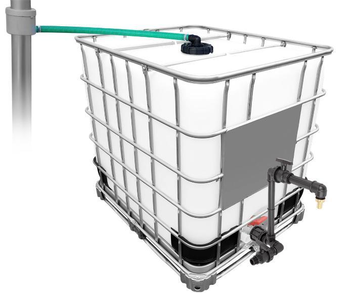 1000l IBC Regenwassertank mit 80m² Fallrohrautomat + Schwanenhals