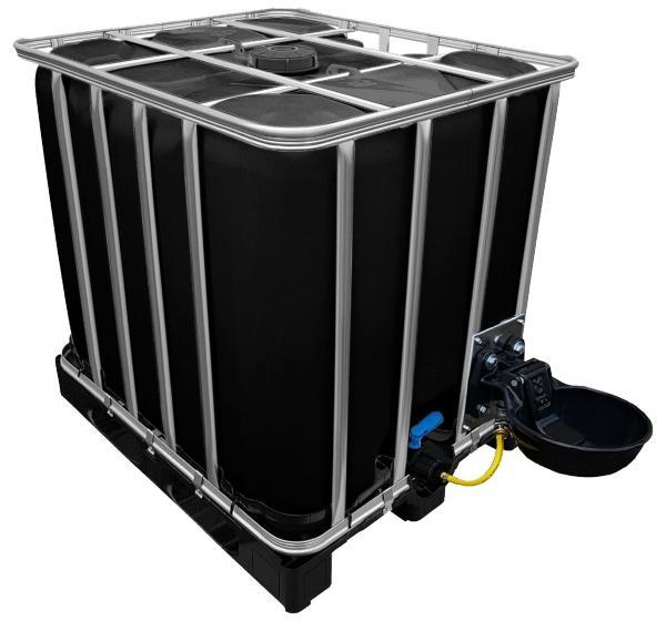 1000l IBC Wassertank in SCHWARZ mit Traenkebecken auf PE-Palette NEU