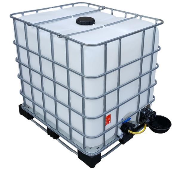 1000l IBC Wassertank mit Traenkebecken auf Stahl-PE-Palette NEU