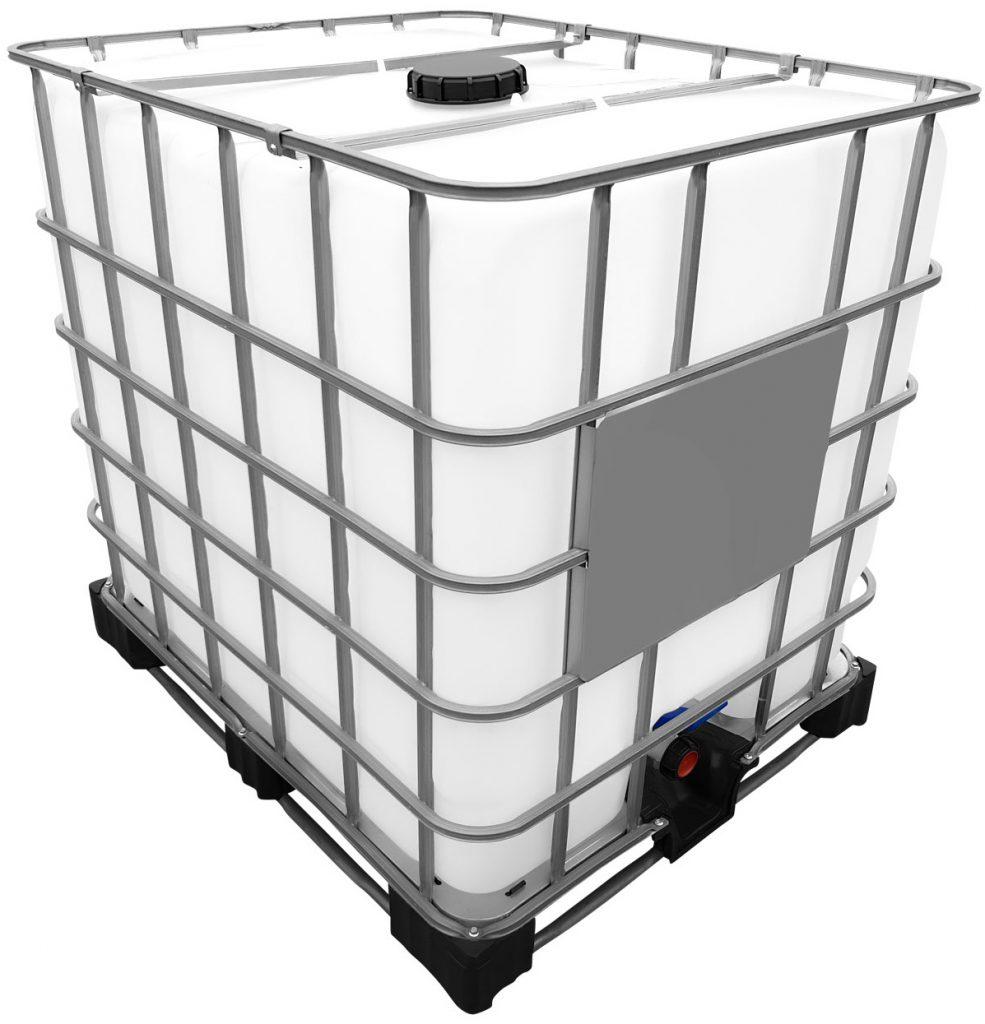 1000l IBC Wassertank auf Stahl/PE-Palette REBOTTLED Regenwassersammler am IBC anschließen