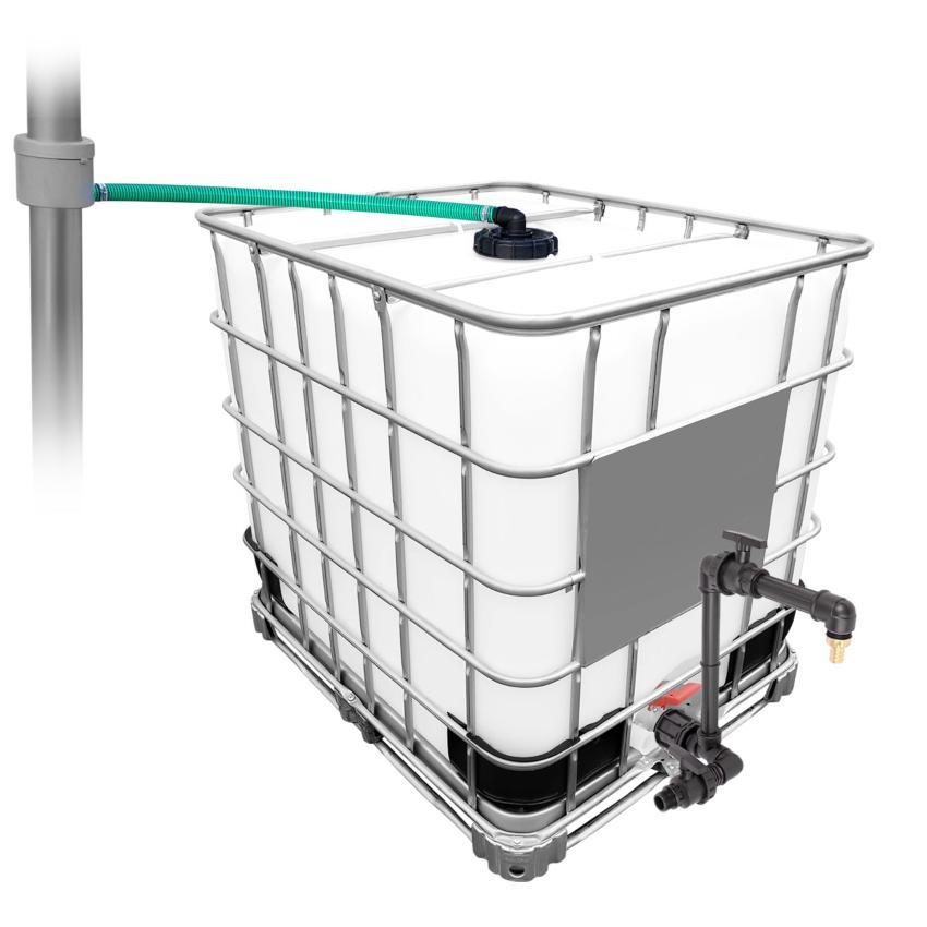 1000l IBC Regenwassertank mit 80m² Fallrohrautomat + Schwanenhals - Fallrohrfilter