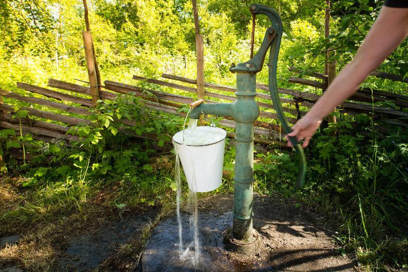 Eine Kolbenpumpe als herkömmliche Wasserpumpe für die Gartenbewässerung