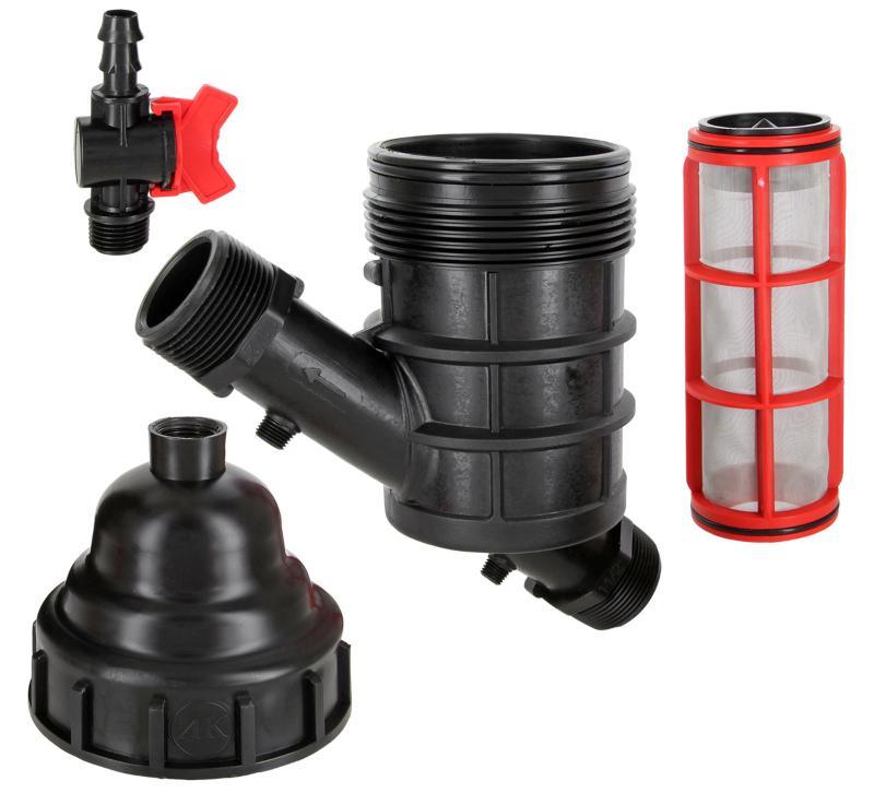 Wasserfilter Siebfilter 2x Außengewinde mit Spülhahn