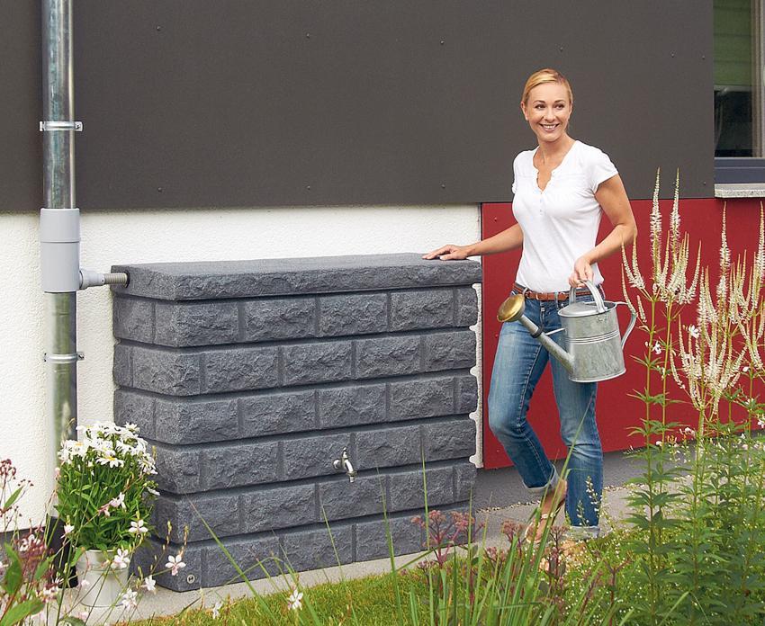 400l Wandtank ROCKY Deko-Regenspeicher Steinoptik - Regenwassernutzungsanlage