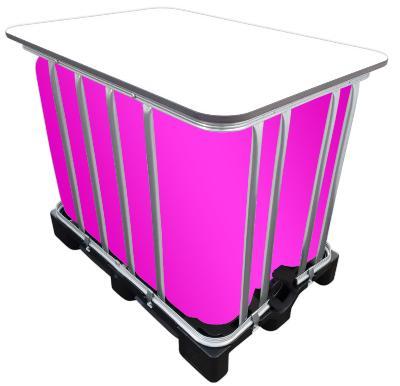 600l IBC LED Kubik Stehtisch auf GFK-Palette