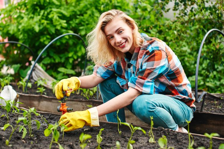 Frau installiert Gartenbewässerungssystem