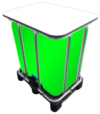 300l IBC LED Kubik® Stehtisch auf GFK-Palette - Beleuchteter Partytisch