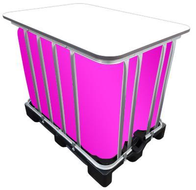 600l IBC LED Kubik® Stehtisch auf GFK-Palette - Beleuchteter Partytisch