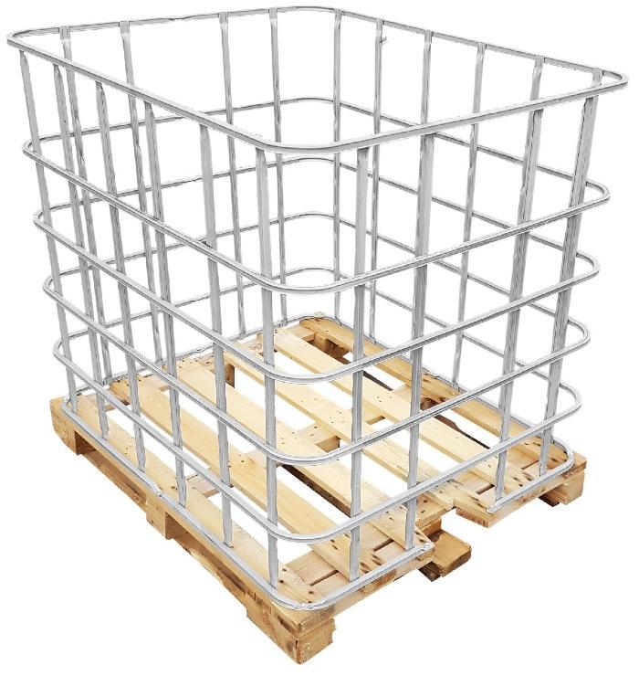 IBC Gitterbox auf Holzpalette
