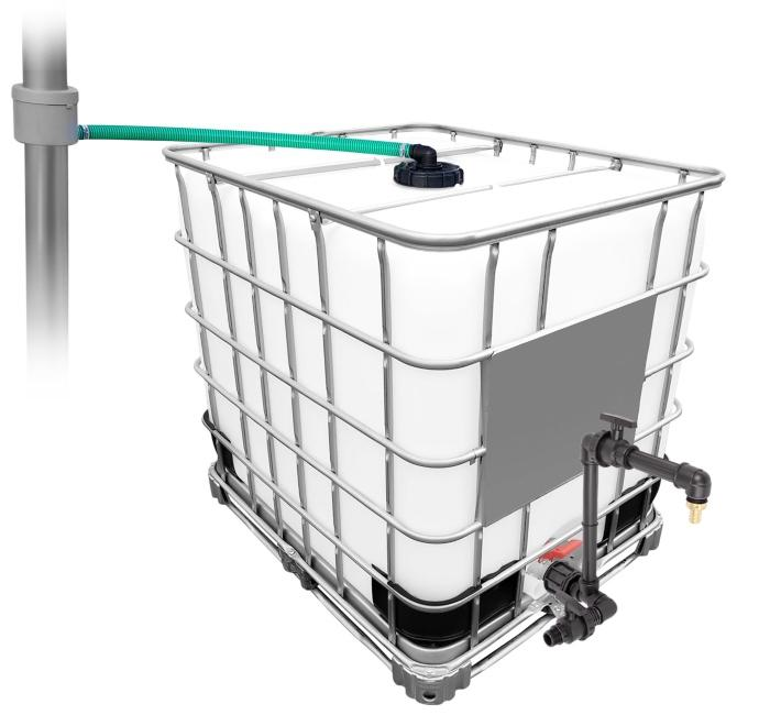 1000l-ibc-regenwassertank-mit-80m2-fallrohrautomat-schwanenhals Gartenbewässerung