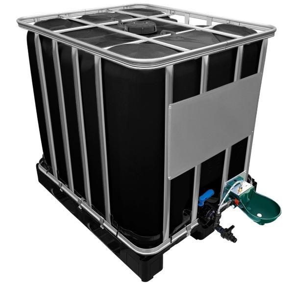 1000l IBC Wassertank in SCHWARZ mit Tränkebecken auf PE-Palette NEU