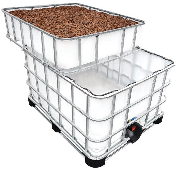 600-200l IBC KUBIKGARDEN Hochbeet Modern Farming Speicher +SET substrate-fuer-aquaponik