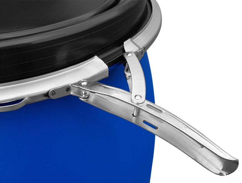 Zu sehen ist der Spannring eines Deckelfasses der sich per Hebelverschluss leicht öffnen lässt