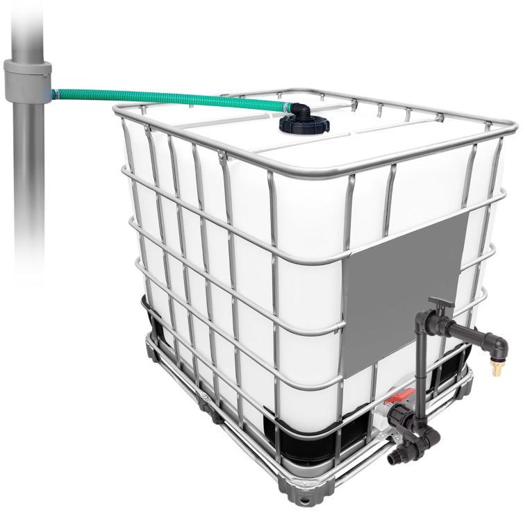 1000l IBC Regenwassertank mit 80m² Fallrohrautomat + Schwanenhals Wasserverbrauch im Garten reduzieren