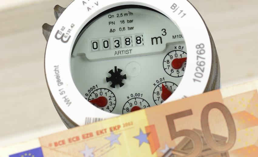 Wasserzähler, Geldschein Symbolbild