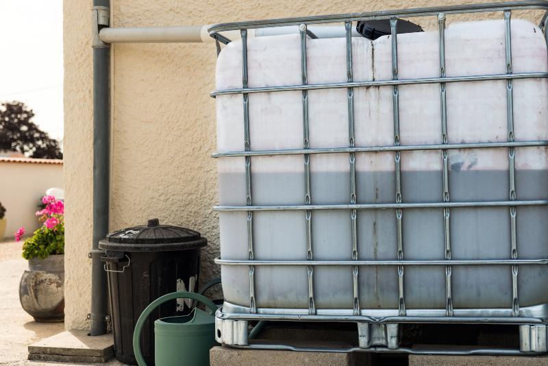 Ein IBC-Container ist an das Fallrohr eines Hauses angeschlossen und dient als Sammelbehälter für Regenwasser Welche Möglichkeiten bietet ein Regenwasserfilter?