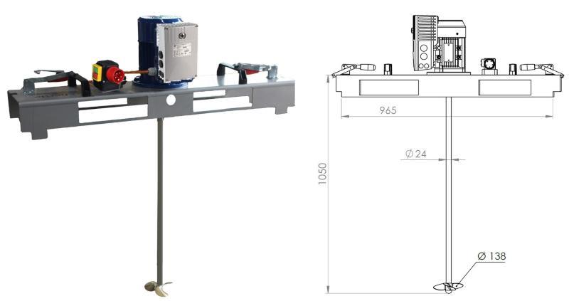 IBC Rührwerk Schnellmischer mit E-Antrieb VARIO 600 m/Pas IBC-Mixer