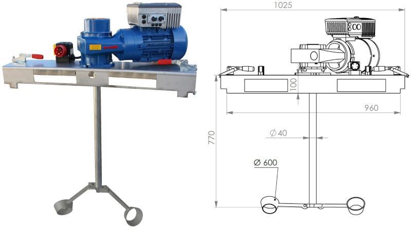 IBC Schneckengetrieberührwerk mit E-Antrieb 20000 m/Pas. IBC-Mixer