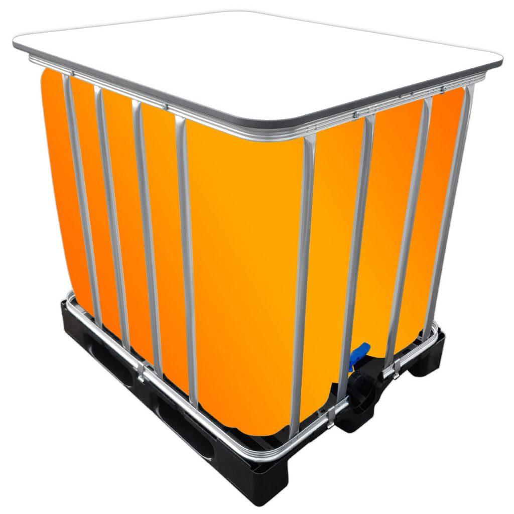 1000l IBC LED Kubik® Stehtisch auf PE-Palette IBC-Tische