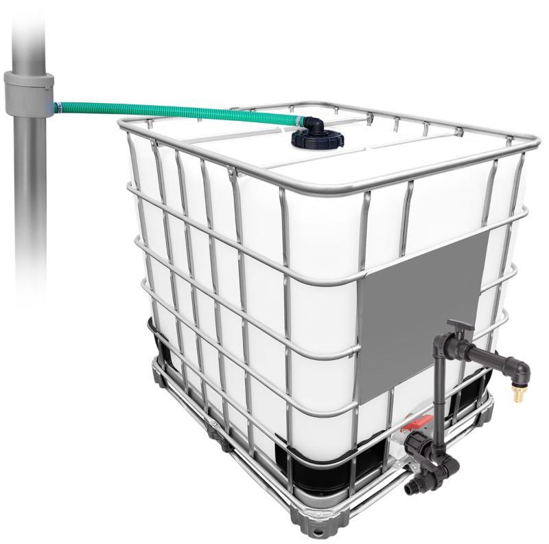 1000l IBC Regenwassertank mit 80m² Fallrohrautomat + Schwanenhals Swing-Joints