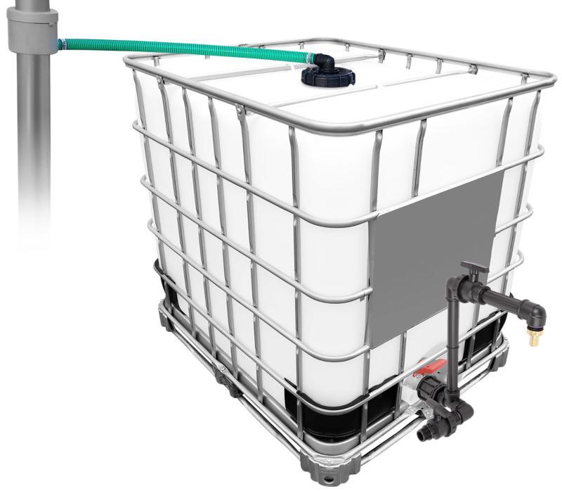 1000l IBC Regenwassertank mit 80m² Fallrohrautomat + Schwanenhals Wasserdurchfluss messen