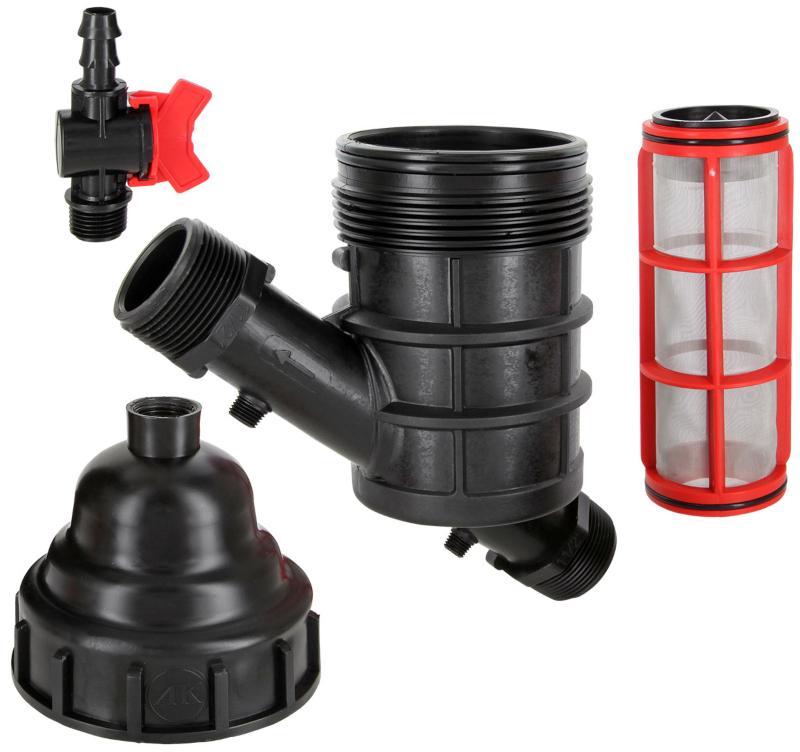 Wasserfilter Hydrozyklon Siebfilter 2x Außengewinde mit Spülhahn Beregnungsbewässerung