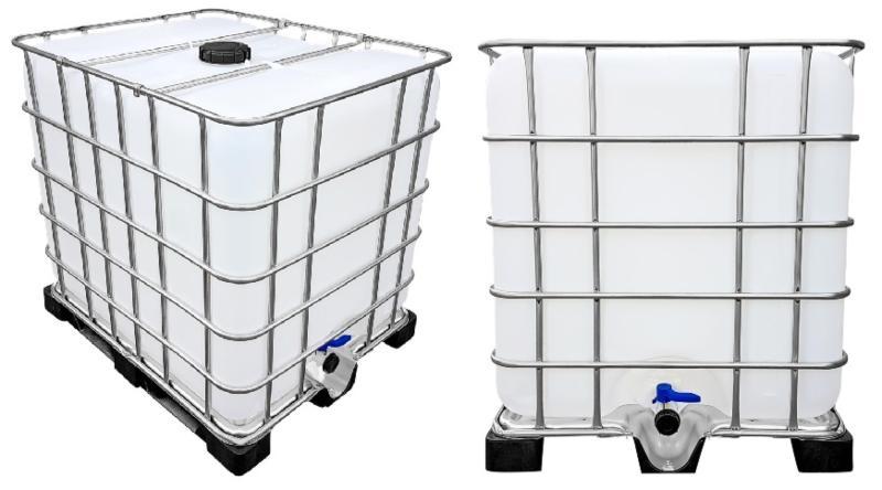 1000l IBC Wassertank auf PE-Palette (FOOD) REBO NEUWERTIG Distanzstück