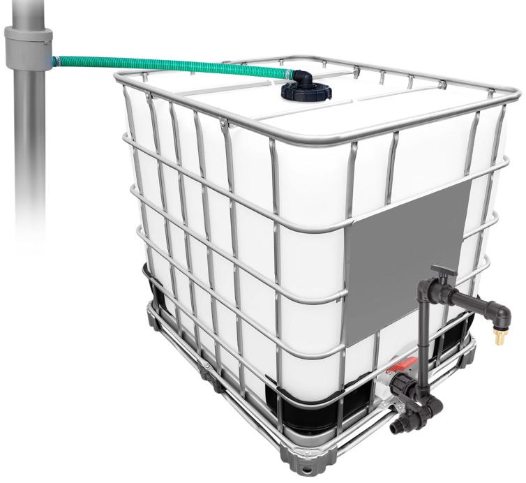 1000l IBC Regenwassertank mit 80m² Fallrohrautomat + Schwanenhals Gartenbewässerung per App steuern