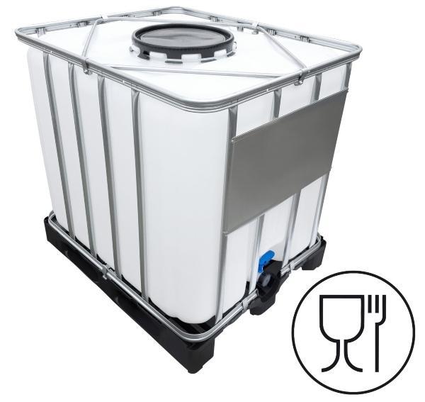 1000l IBC Container (Mannloch DN 400) auf PE-Palette NEU mit Klappenhahn am IBC-Container