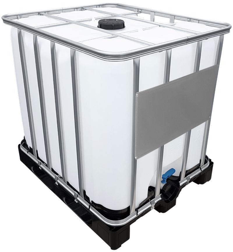 1000l IBC Wassertank GESPÜLT auf Kunststoffpalette Fallrohranschluss