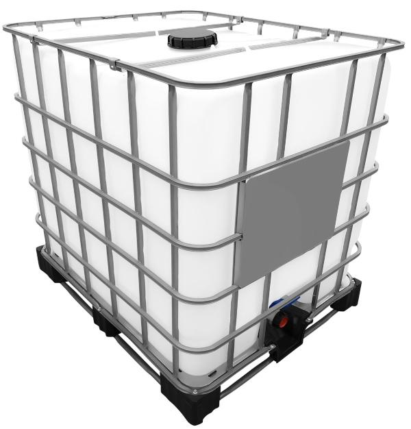 1000l IBC Container auf Stahl/PE-Palette REBOTTLED