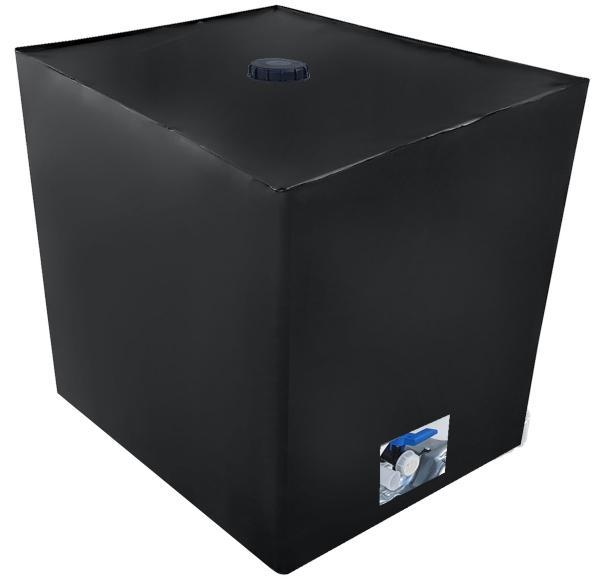 IBC Cover UV-Schutz Folie mit Lochauschnitt in Schwarz - Algenschutz für den IBC