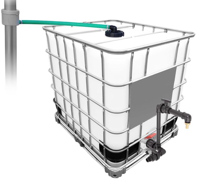 1000l IBC Regenwassertank mit 80m² Fallrohrautomat + Schwanenhals Fallrohranschluss