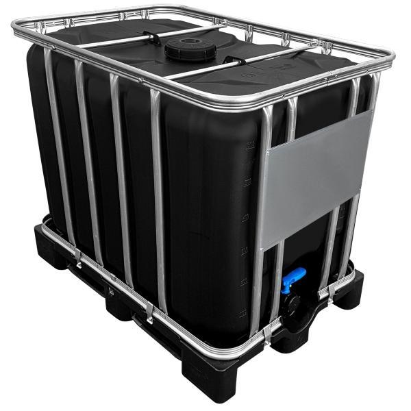 600l IBC Container SCHWARZ auf PE-Palette NEU mit Klappenhahn am IBC-Container