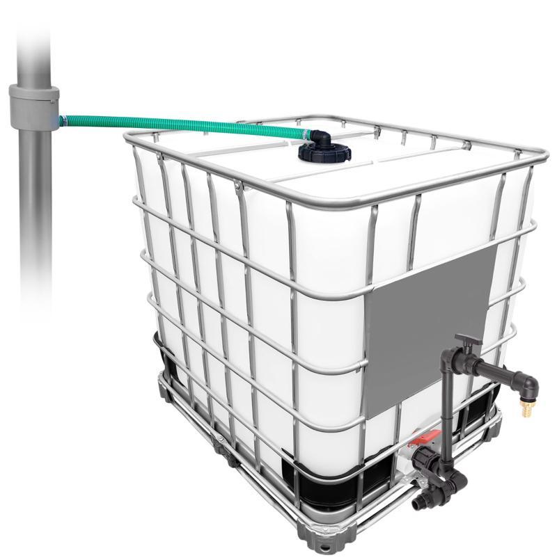 1000l IBC Regenwassertank mit 80m² Fallrohrautomat + Schwanenhals Schwitzschlauch oder Tropfschlauch