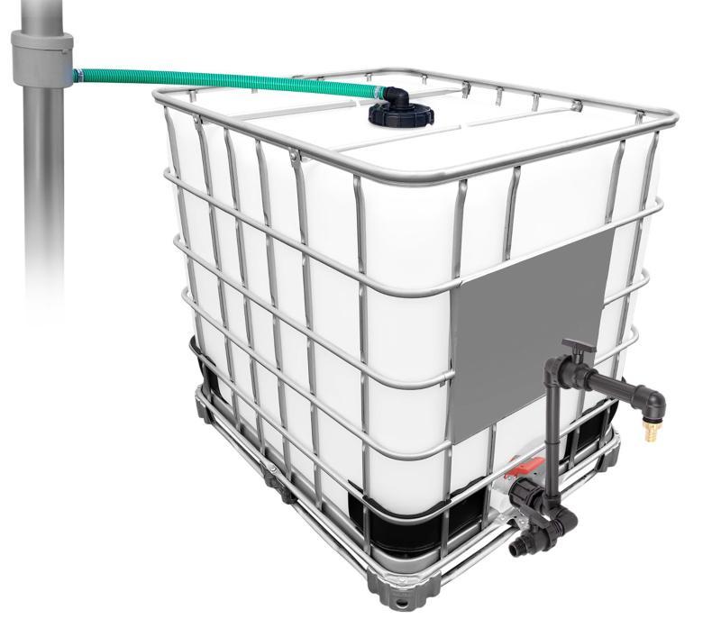 1000l IBC Regenwassertank mit 80m² Fallrohrautomat + Schwanenhals Bewässerungsautomaten