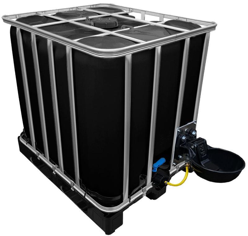 1000l IBC Wassertank in SCHWARZ mit Tränkebecken auf PE-Palette NEU - Wassertränke für den IBC